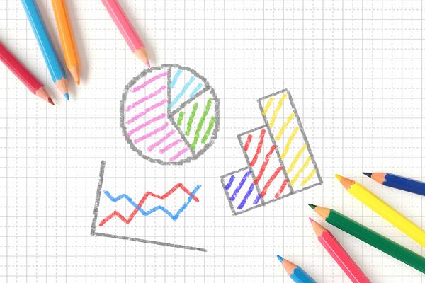色鉛筆とグラフ